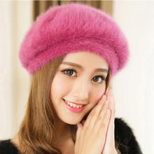 New Stylish Beanie Winter Hat For Women Faux Fur Hat Korean Style Candy Color Beret Hat Fashion Female Cap Gorros Bonnet Femme