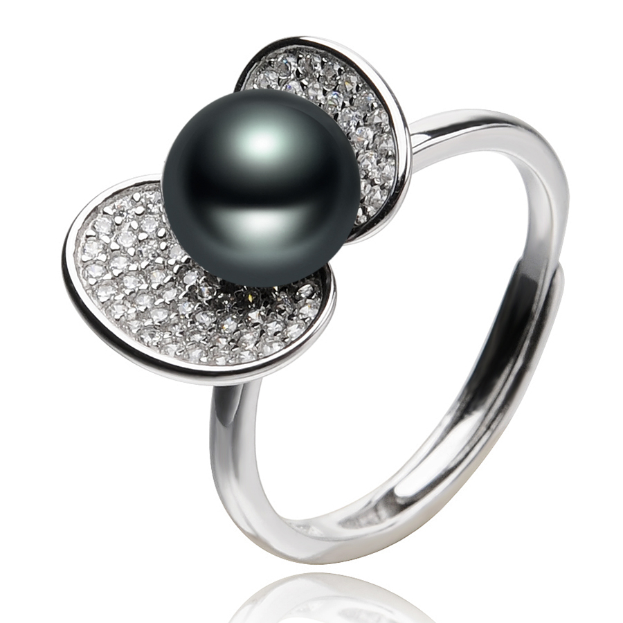 FEIGE New Design Pearl Rings For Women\'s 7-8mm Bla...