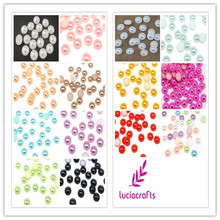 Lucia Crafts 10mm 72pcs flower half round imitation pearls ABS Flatback Flower resin beads DIY Decoration D15011002(China)