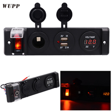 WUPP 12V Circuit Breaker Switch Panel Dual 5V 1A 2.1A USB Outlet Charger Port Cigarette Lighter Volmeter Red Indicator Switch(China)