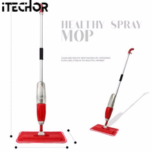 iTECHOR 2 in 1 Functional Mist Super Absorbent Microfiber Spray and Spin Magic Mop - Red