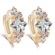 2015 hot sell Women's Luxury Shinny Zircon    Huggie Hoop Earrings Showy Jewelry 56PA