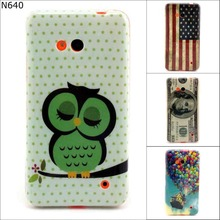 New Retro tape Cartoon Owl USA UK flag ShockProof soft TPU Silicon Case Cover For Microsoft Nokia Lumia 640 with screen film