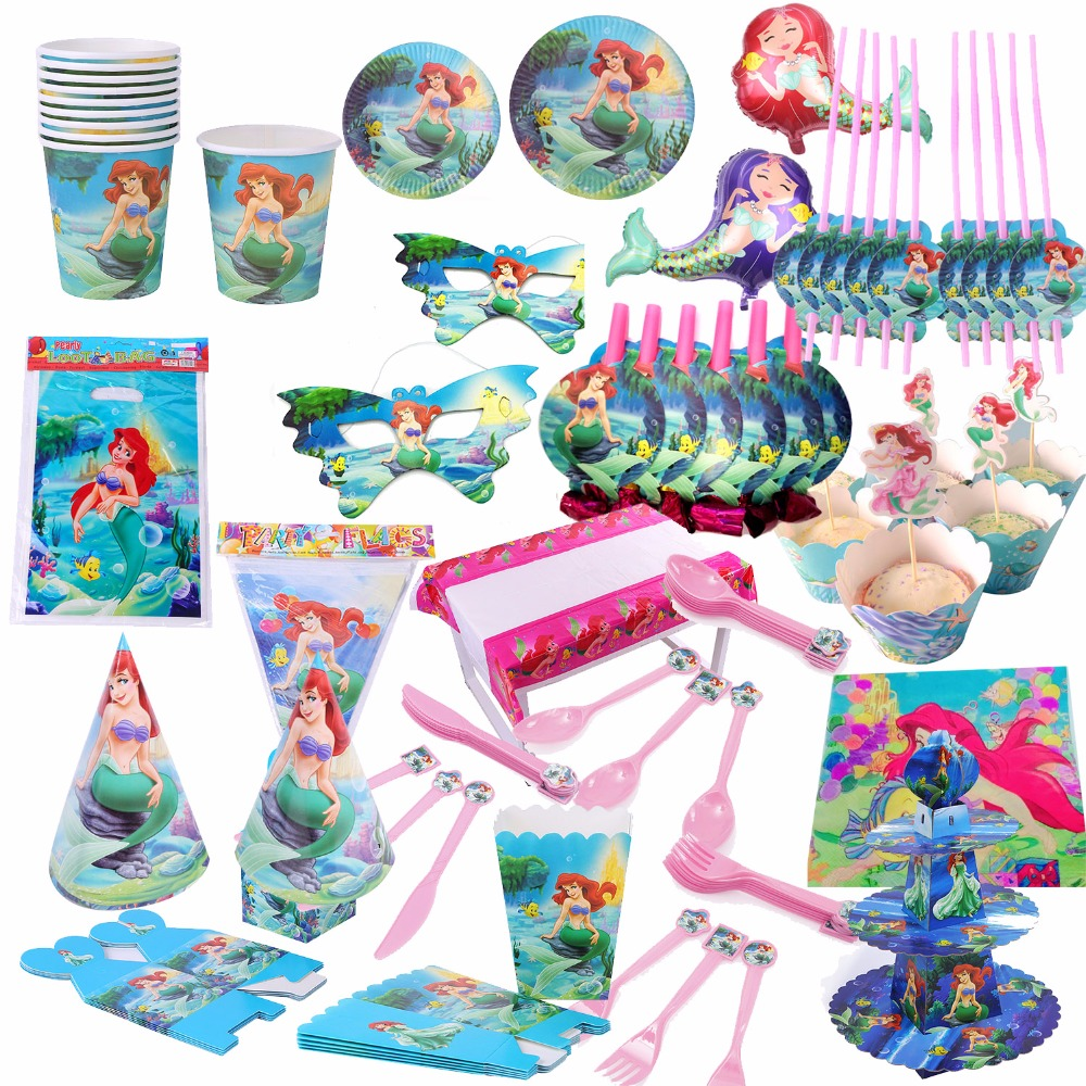MERMAID Birthday Party Girls Princess Decorations Kids Tableware Tablecloth Gift