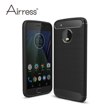 Airress Premium Soft TPU Brushed Carbon Fiber Texture Defender Phone Case Cover for Motorola Moto G5 / Moto G5 Plus(China)