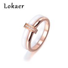 Lokaer Delicate Jewelry Ring Rose Gold Color Austrian Crystal White Ceramic Titanium Steel Wedding Rings For Women Bague Femme(China)