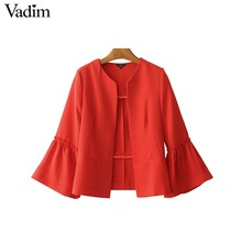 Vadim women elegant solid jacket open stitch design flare sleeve coats black red ladies casual brand outerwear tops CT1481
