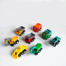 7cm 8pcs/lot MINI Different Shapes Cheap Plastic Small Toy Model Cars Pull Back Trucks Excavator Bulldozer Toys for children