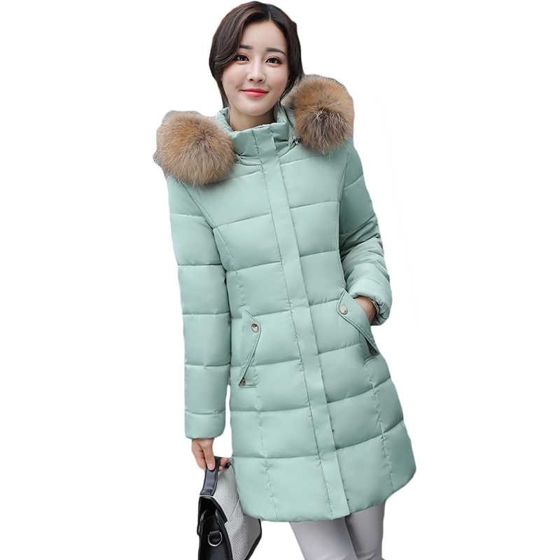 2017 Winter Coat Women Faux Fur Collar Zippers Pockets Coats Ladies Cotton-padded Jacket Womens Parkas with Detachable Hat XH902(China)