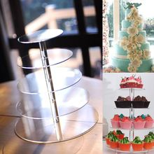 Acrylic 5 Tiers Cake Stand Dessert Cupcake Display Tower Stand Transparent Serving Rack Kitchen Wedding Party Banquet Decoration(China)