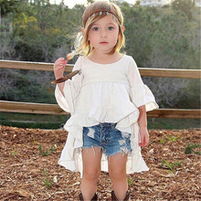 2017 new hot pudcoco Euramerican style Castle Summer half Sleeve Girls pure white Dress Clothes For Kids 2 to 6 years Old Kids(China)