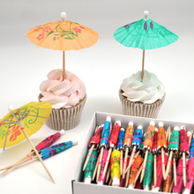 40pcs! Fruit cocktail mini umbrellas peacock drink picks party picks art toothpick paper garland for Wedding party decoration