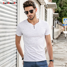 Buy GustOmerD 2018 Men's t shirt men Brand T Shirt V-neck T Shirts Summer Casual Solid Color Short Sleeve Slim Fit Cotton tee shirt for $9.99 in AliExpress store
