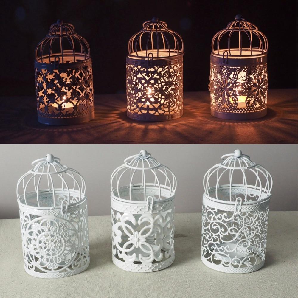 White Hollow Holder Candlestick Tealight Hanging Lantern Bird Cage Vintage Wrought