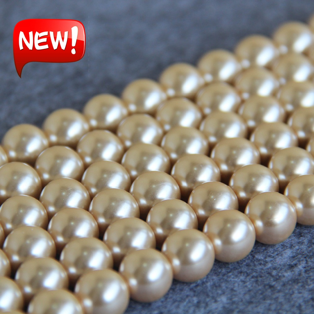 Melon 40 round pearl beads 10mm Glass faux Pearls craft pale yellow-green