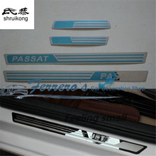 4pcs/lot stainless steel car stickers styling door sill Scuff Plate pedal For Volkswagen VW Passat B5 B7(China)