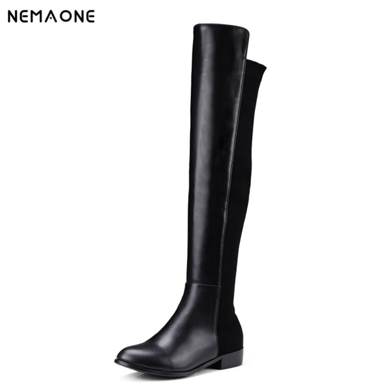 NEMAONE 2017 Square Low Heel boots Woman autumn winter The Knee Boots Women Shoes Winter Ladies Motorcycle Boots Size 34-43<br>