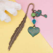 8SEASONS New Fashion Classics Feather Shape Bookmark Heart Skeleton Key Craft Jewelry Accessories 12cm x2.7cm, 1 Piece