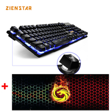 ZIENSTAR Russian /English Game Keyboard with Three Colors Backlit , Similar Mechanical Feel ,with Big Size Mouse Pad(China)