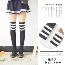 Spring Autumn New Cotton Socks Japanese College Wind Medias Rayas Women Sexy Stripe Cotton Over Knee Socks Thigh High Stockings