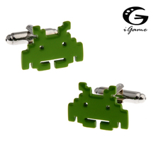 iGame Factory Price Retail Men's Cuff Links Copper Material Green Color Cartoon Design Computer Virus Style