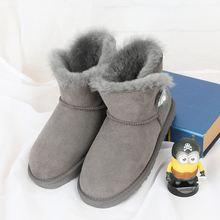 Especial atacado 100% natural de alta qualidade botas de couro de pele de ovelha Australiana, botas casuais, botas de couro(China)
