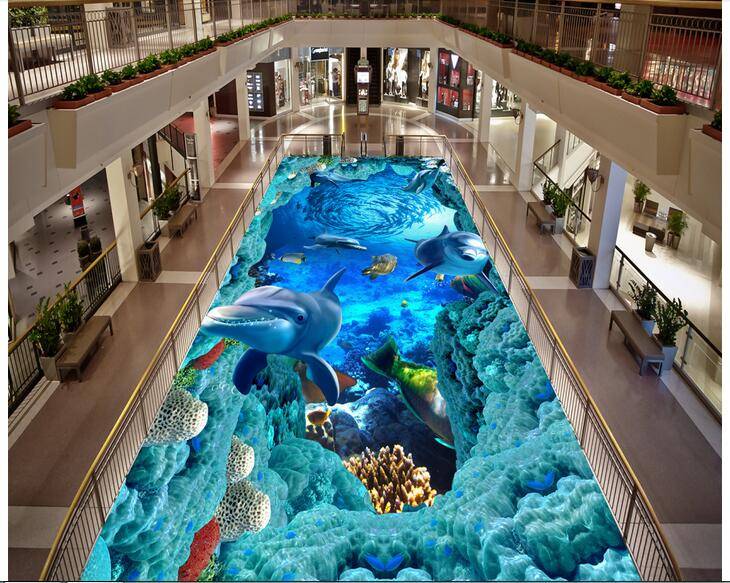 3d pvc flooring custom photo self-adhesion waterproof floor Dolphin fish caves  painting picture room wallpaper for walls 3d<br>