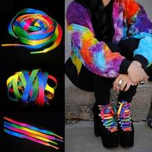 1 Pair Mixed Color Students Shoelace Party Shoes Accessories Women Men Rainbow Stripe Flat Shoelaces String Popular