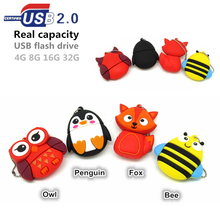 Fashion cute Animal Owl/Penguin/Fox/Bee usb flash drive pendrive usb stick 32gb 4gb 8gb 16gb flashdrive usb stick u disk memoria(China)