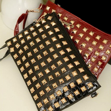 100pcs/lot New Fashion Women Lady Girl Shoulder Day Clutch Pyramids Studs Envelope Bag