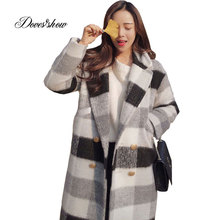 New Women Autumn Cape Coat Winter Jacket Long Plaid Wool Coat Mujer Overcoat Casaco Feminino Female Jacket Outwear Blends(China)