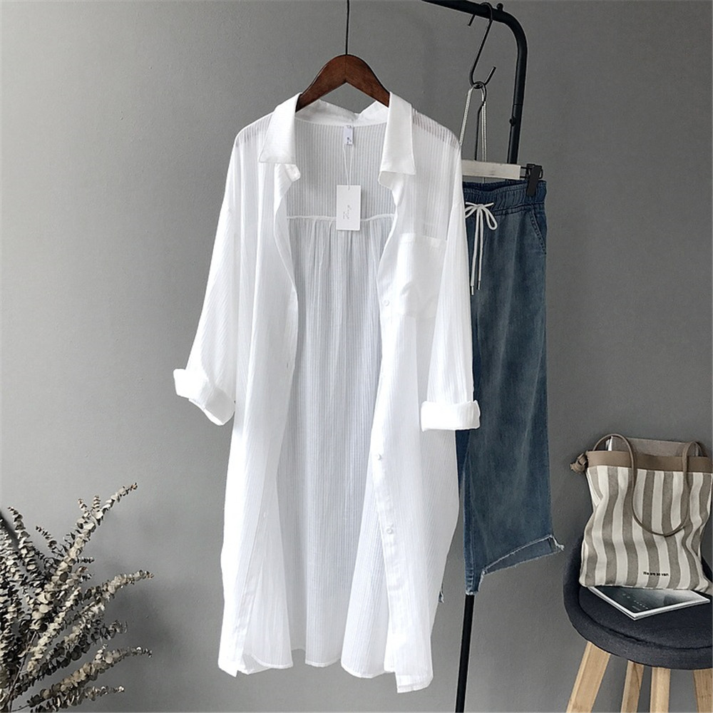 100% Cotton Casual White Long Blouse Women 2018 Spring Women Long Sleeve White Shirts Blouse High quality loose Blouse Tops (1)