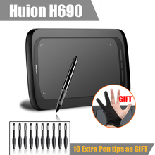 "Huion H690 Art Graphic Drawing Digital Tablet  6x9"" 5080LPI 2048 Good As Huion H610 Pro + Anti-fouling Glove+10 Pen Tips- Gift"