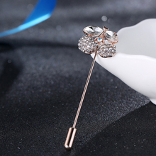 SHUANGR Jewelry Store New Arrival Cherry Brooches European Style Clear Cubic ZIrcon Wedding Bridal Apparel Accessories(China)