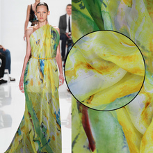 Silk fabrics chiffon fabric 100% silk yellow Ya Su printed dresses hanging tape shirt fabric wide clothing fabrics