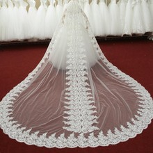 2017 NEW Couture Luxury Cathedral Train Wedding Veils Lace Edage Royal Train Bridal Accessory Bride Veil Party In Stock White