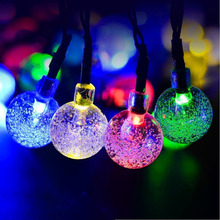 Solar Power Lamps 4.8M 20LEDs Crystal Ball Luz Waterproof IP65 Fairy Lights Festival Gate/Yard/Garden Decoration Light Strings