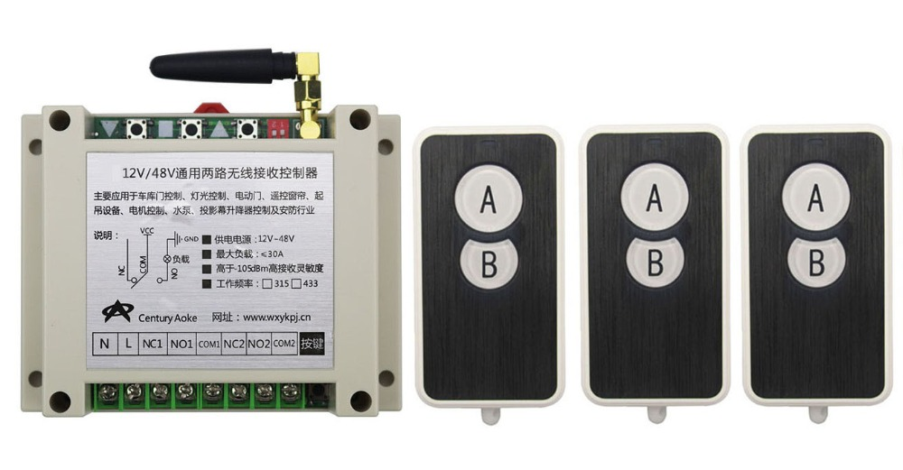 DC12V 24V 36V 48V 10A 2CH RF Wireless Remote Control Switch System 3 transmitter and 1 receiver universal gate remote control<br>