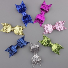 48pcs/lot 3.7'' sequin bows glitter embroidered boutique hair bow for girls teens children kids toddlers