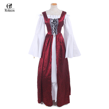 Woman's Renaissance Medieval Gothic Red Long Dresses Retro Clothing Evening Dresses European Retro Costumes(China)