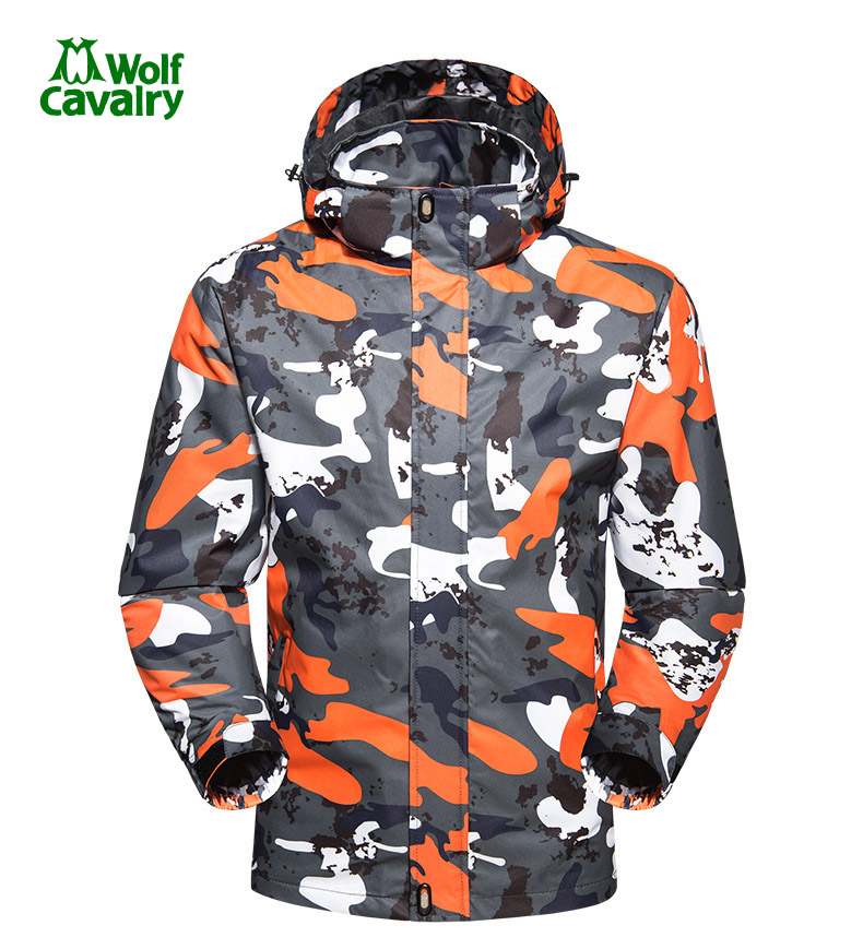 CavalryWolf Men Softshell Hiking Jackets Outdoor Thermal Waterproof Windproof winter Outdoor Camouflage Camping Softshell Jacket<br>
