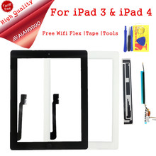 ALANGDUO For iPad 3 A1430 Touch Screen Digitizer For ipad 3 iPad 4 A1416 A1458 Screen Glass Free 3M Adhesive wifi flex cable