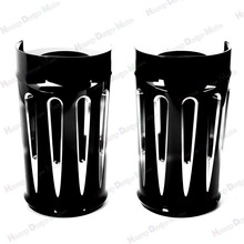 Negro Deep Cut arranque superior Slider Fork cubre para Harley Touring 2014-2016 Electra Glide Road King Street Glide(China)