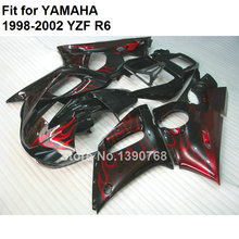 Motorcycle fairing kit for Yamaha YZF R6 98 99 00 01 02 red flames black fairings set YZF R6 1998 1999 2000 2001 2002 FB-80(China)