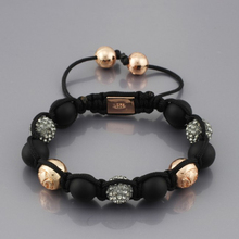 NY-B-324 Wholesale Shamballa bracelet handmade black & rose gold crystal beads shamballa jewelry DIY bracelet free shipping