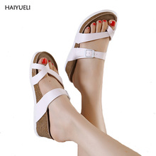 Women's summer slippers clogs casual platform wedge sandals Women's genuine leather sandals Low heeled shoes flip flop(China)