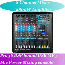 Top Quality Pro 2800W Power Amplifier Mixer 8 Channel Karaoke Microphone Mixing Console USB MP3 16 DSP Top Quality(China)