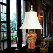Vintage chinese bedroom living room wedding table lamp Jingdezhen porcelain ceramic table lamp art christmas table lamp