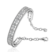 Newest brand Fashion AAA cubic zircon multi-layered Silver bracelet thin cuff copper bangle rystal Jewelry Gift For Women(China)