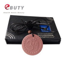 Red Lava Quantum Scalar Energy Pendant OM Design Fashion Jewelry Necklace Round Charms With Nano Card in a Gift Box 10pcs/lot(China)